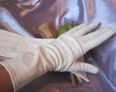 Vintage rare Christian Dior ivory leather gloves, high beige leather gloves, mid arm beige leather gloves, sz 7.5 beige leather glove