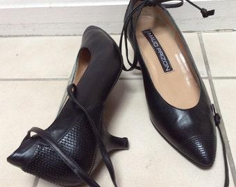 Vintage Maud Frizon sz 7 1/2 Medium black pumps, ankle tie black heels, kitten heels black pumps, sz 38 black Maud Frizon Paris shoes