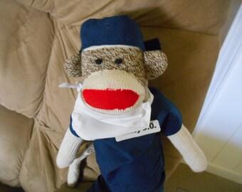 Sock Monkey Surgeon Dr. Doctor Anesthesiologist  Nurse  in Scrubs, RN ,LPN Rockford Red Heel Doll