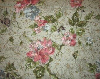 Vintage 1940s Unused Perfect Barkcloth 47x76 Pink and Green Floral Fabric