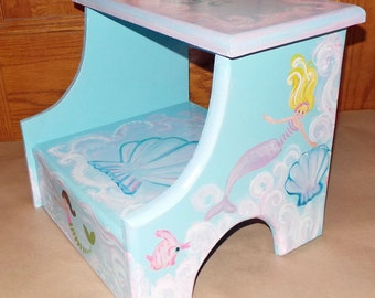 Custom designed Mermaid Wooden Step Stool, Handmade and Handpainted, personalized kids furniture, kids room decor