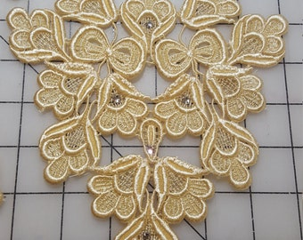 Golden Yellow Venice Lace Applique with rhinestone accents