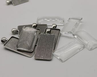RECTANGULAR Bezel with 38mmX19mm GLASS Magnifying Domes Cabochon - 5 sets 10 pcs  - 48mmx21mm Antique Silver - KB13 - We are USA Seller