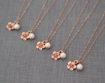 Bridesmaid Flower Necklace Rose Gold, Bridesmaid Gift Set of 9, Rose Gold Bridal Party Gift, Spring Wedding Party Jewelry