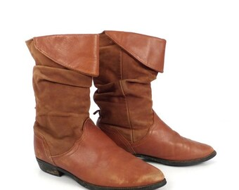 Brown Leather Boots Vintage 1980s  Nubuck Women's size 6
