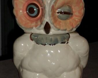 Winky OWL Cookie Jar Shawnee Pottery USA winking blue eye