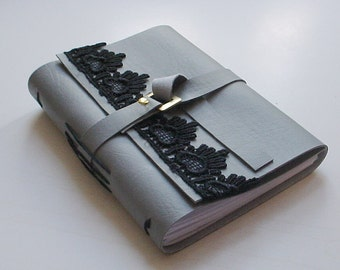 Grey Faux Leather Journal - Christmas Gift Idea- Small Gift Under Twenty-Five Dollars
