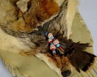 Coyote Native American Bag, Handcrafted, Coyote Fur, Leather Bag, Medicine Bag, Ceremonial Bag, Medicine Man Bag, Costume Accessory