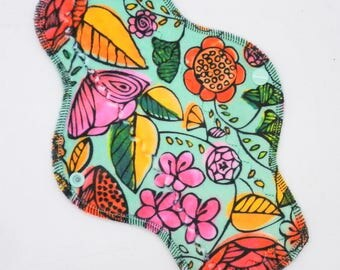 "10"" Moderate Cloth Pad, Minky Cloth Menstrual Pad, MotherMoonPads, Day Pad, Light Incontinence Pad, Garden Variety Minky, Windpro"