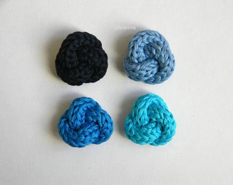 Men lapel pin. Knot lapel button. Cotton stick pin. Blue. Azure. Ocean. Turquoise.