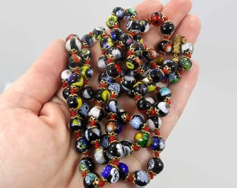 """Millefiori Necklace, Glass Beaded, Venetian Beads, Black, Vintage Necklace, Italian, 37"""" Long, Hand Knotted, Murano, Gold Metal, Flowers"""