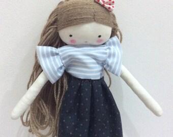 Handmade rag doll , Laia- ooak cloth art rag doll shirt and skirt, bow and socks toys for girls