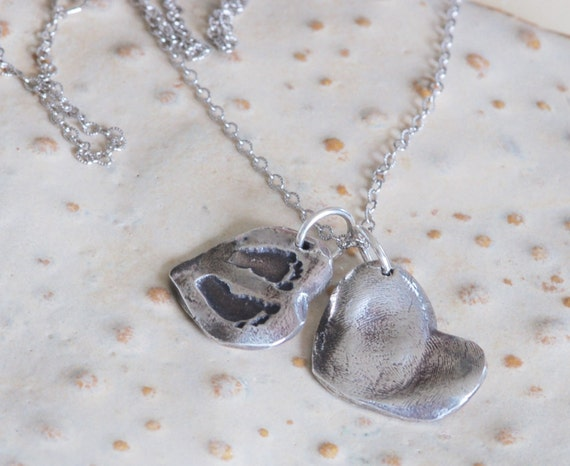 New Mom Baby Footprint Charm & Big Sister/Brother/Mother Heart Fingerprint Charm Necklace - Fingerprint Jewelry