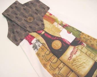 Button top towel  oven door hanging towel Wine Bottle, glassof wine towel Quiltsy handmade