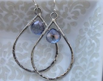 Hammered Teardrop Earrings Sterling Silver, Teardrop Earrings, Blue Stone Earrings