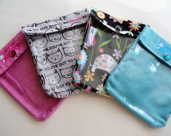 SALE Ouch Pouch Grab Bag (4) Small 4x5 First Aid Organizers for Office Desk Diaper Bag Car Purse Summer Travel - Teacher Gifts Under 5 each