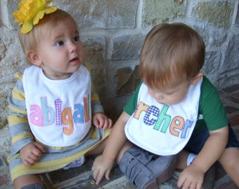Personalized Baby Bib - Multi-colors Checked fabric - Girl or Boy Name Bib - Appliqued Bib - Personalized Baby Gift - Name Announcement
