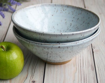 Pair of Ceramic Serving Bowls in White Speckled Blush Blue Glaze Stoneware Pottery Made in the USA Ready to Ship