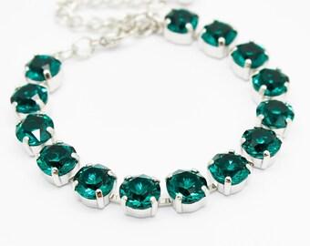 Emerald Bracelet Rhodium, Green Jewelry, Bridal Bridesmaids Bracelet, Swarovski Crystal Jewelry, Rhinestone Chain Link Adjustable Bracelet,