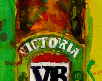 VB Victoria Bitter Beer Bottle Art Print from Org Watercolor - Giclee or Archival men cave - college dorm