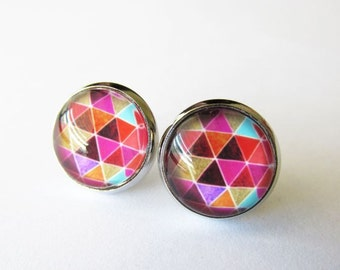 Triangle Stack Glass Dome Stud Post Earrings