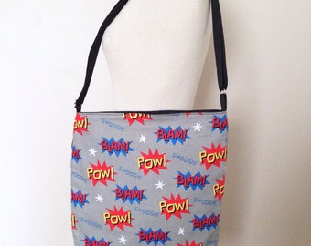 Grey Comic Book / Action Words / Crossbody Tote Bag / Messenger