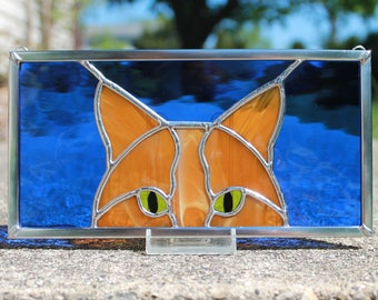 Butterscotch Ginger Peeking Cat Stained Glass Panel