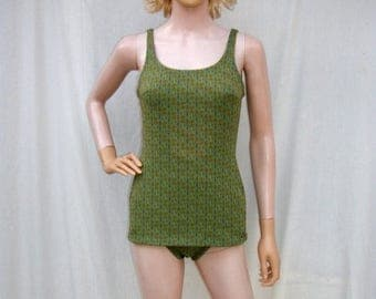 ON SALE 60s Green One Piece Swimsuit size Small  Boyleg Ohrbachs Austria