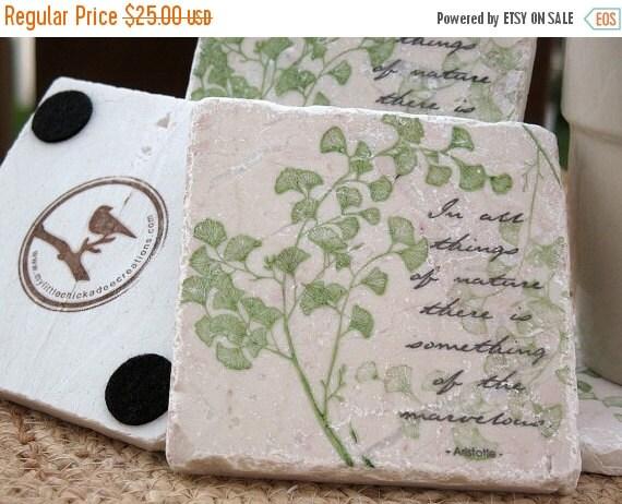 LuckySale Nature Coasters - Ginkgo Leaf Design - Garden Home Decor - Set of 4 Tiles