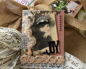 Christmas Card - Joy Card - Vintage Lady Christmas - Victorian Lady Christmas