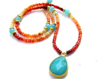 Mexican Fire Opal and Teal Chalcedony Necklace - Handmade Gemstone Jewelry