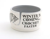 CROCHET Game of Thrones,Winter is coming - yarn bowl, GOT fan art,  crochet supplies - yarn storage - large ceramic yarn bowl