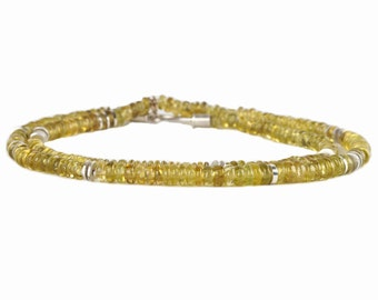 bright yellow-green tourmaline necklace with silver and gold