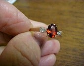 vintage 10K gold garnet ring with small side genuine diamonds size 9.5 Free ship