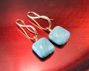 The Abigail Rose Gold Tone Contemporary Hoop with Dyed Howlite Turquoise Puff Square Dangles