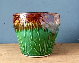 Antique Roseville Ransbottom Style Stars / Moon Jardiniere Planter 1920s 1930s Ohio Pottery Green & Brown Glaze Art Deco Ceramics USA