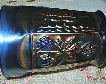 VINTAGE Blue Carnival Glass Tumbler - Pencil Holder - Golds and Blues - Butterflies and Leaves