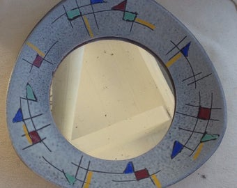 Retro Mid Century Scandinavian  Vintage Atomic Geometric Primary Art Pottery Wall Mirror