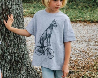 Great Dane on a Bicycle- Kids T Shirt, Youth Tee, Cotton Tee, Handmade graphic tee, sizes S-XXL