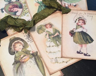 Vintage Inspired St. Patrick's Day Tags - St. Patrick's Day Gift Tags - Set of 6