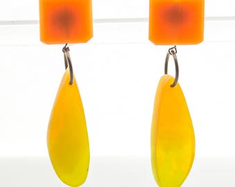 Contemporary Handmade Orange and Green Teardrop Resin Earrings