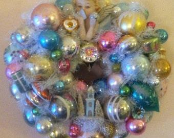 Pastel Tones Ornament Wreath With Mid Century Mercury Bulbs, Indents, Angel, Bird, Putz House, Deer & More. Shabby Elegant