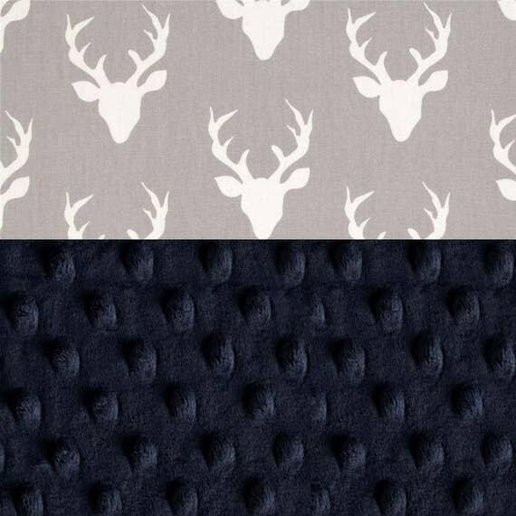 Personalized Mini Deer Baby Minky Blanket Boy Lovey, Navy Blue Gray Cotton // Boy Burp Cloth // Deer Burp Cloth // Security Blanket