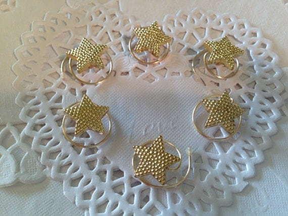 Hair Spins in Sparkling Tiny Gold Tone Stars Coils Twists Spins Spirals
