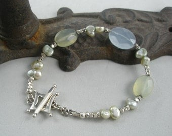Pale Blue and Pale Green Bracelet