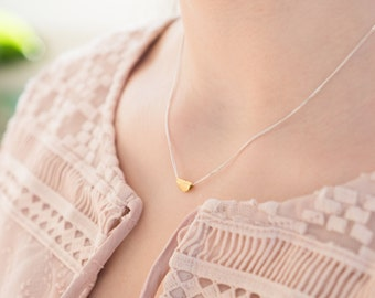 Simple Gold Necklace Fine Jewelry Single Charm Minimal Geometric Tiny Charm Fine Gold Chain Silk Cord Necklace Gift for Woman Special Unique