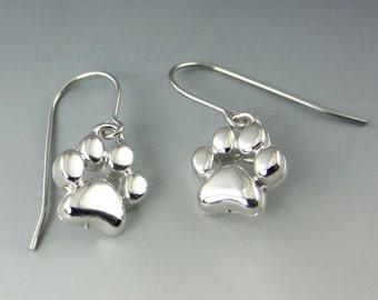 Silver Chunky Paw Print Drop Earrings
