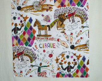 Circus fabric, Vintage, Alexander Henry, Out of Print, Remnants, Cotton, Jewel tone colors