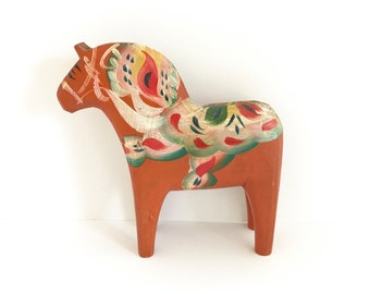 Wooden Dala Horse Hand Painted Flowers Swedish Scandinavian Orange Wood Animal Figurine