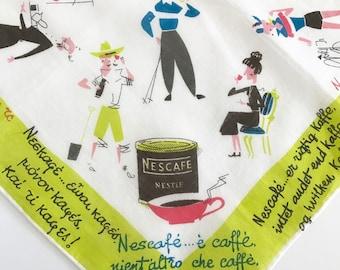Vintage Handkerchief Nescafe Coffee Cups Mid Century Advertising Memorabilia RARE Hankie